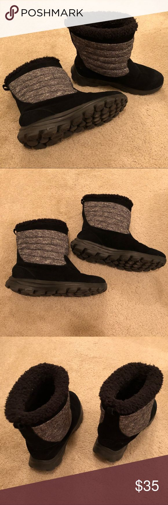 Women's Skechers Black Winter Boots - US size 9 Women's black winter boots. US size 9.  Skechers brand.  Gray around sides. Fur lining inside. Sturdy, plastic/rubber, short platform bottoms.  Barely worn. *Not claiming that these are snow boots. Skechers Shoes Winter & Rain Boots