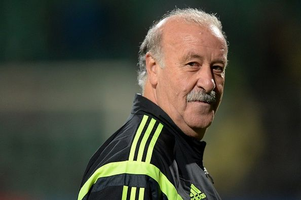 Spain's national football team head coach Vicente Del Bosque attends his team's practice on the eve of EURO 2016 qualifing match between Slovakia and Spain in Northern Slovakian town of Zilina on October 8, 2014.