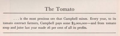 Campbell Soup Company making tomato soup in 1935. From an article in Fortune Magazine.
