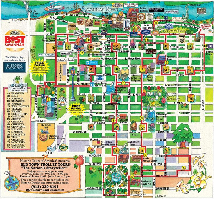 Old Town Trolley Tours® of Savannah route map.  This is a great walking map!