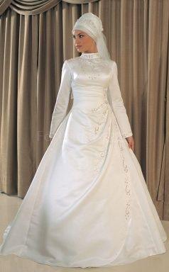 A-line Satin Muslim Wedding Dress(FWD1251)