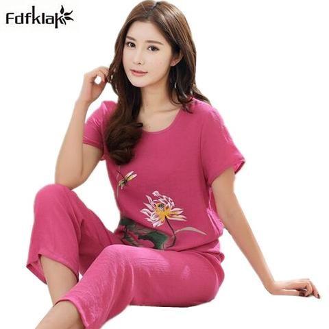 5c61df777 4XL 3XL 2XL XL Cotton linen pajamas women print short sleeve summer  sleepwear pijamas set plus size pyjama women home clothes