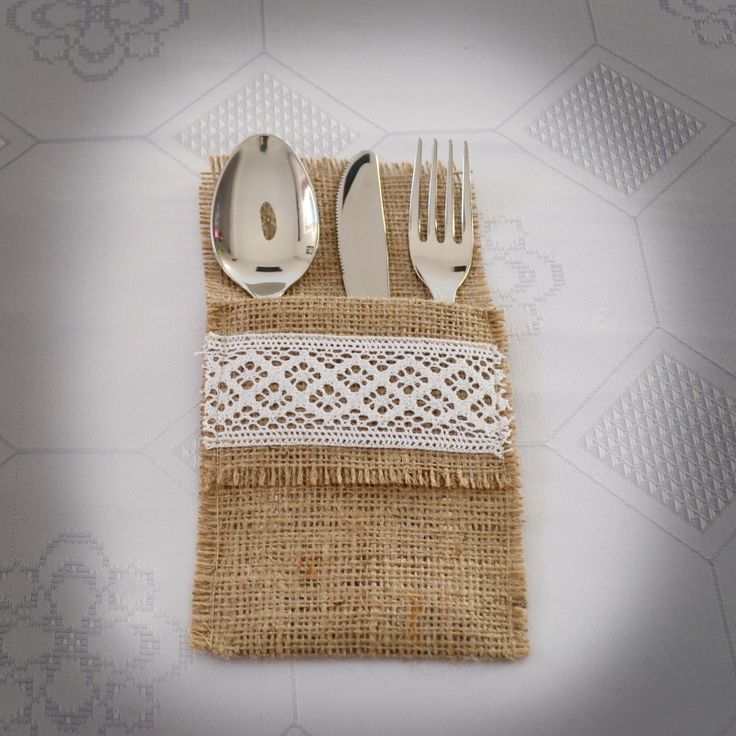 Burlap Cutlery Holders, Rustic Flatware Holder, Lace Silverware Holder - SET OF 6 by Teomil on Etsy https://www.etsy.com/listing/120103127/burlap-cutlery-holders-rustic-flatware
