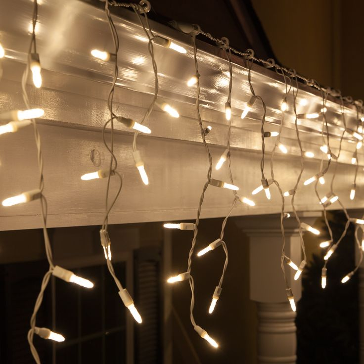 for $23.79.  Warm White LED energy saving, long lasting icicle lights on a ' L White wire with 3 inch spacing between drops makes hanging Christmas lights easy. Price: $23.79