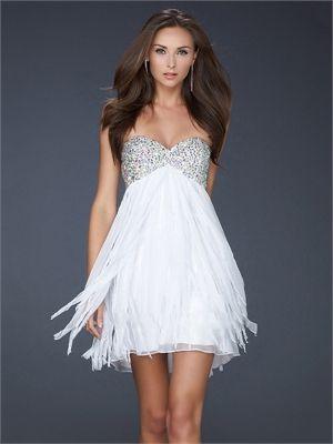 Strapless Beaded Sweetheart Neckline Layered Chiffon Prom Dress PD10718