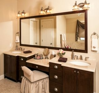 double vanity with makeup area