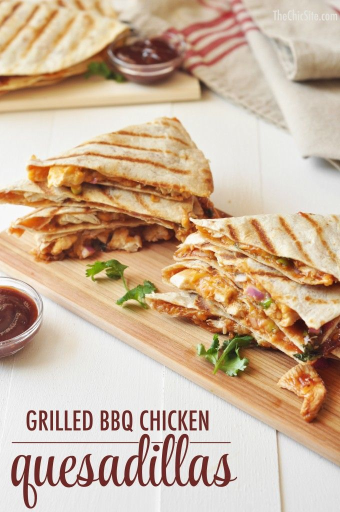 BBQ Chicken Quesadillas Recipe Ideas ~ It's like a bbq chicken pizza in quesadilla form! Delicious!