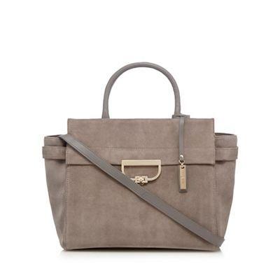 J by Jasper Conran Grey suede zip detail large tote bag | Debenhams