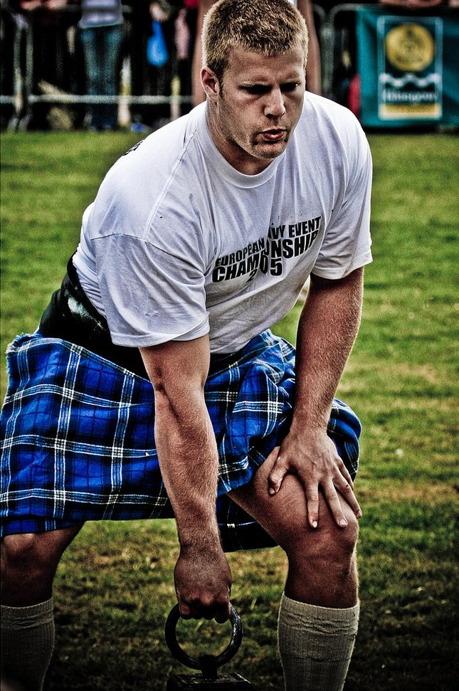 Highland games. Hottie Scottie on the field. Watch out!