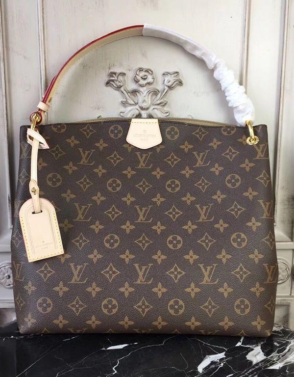 Louis Vuitton Monogram Canvas Graceful Pm Beige M43701 The Handle