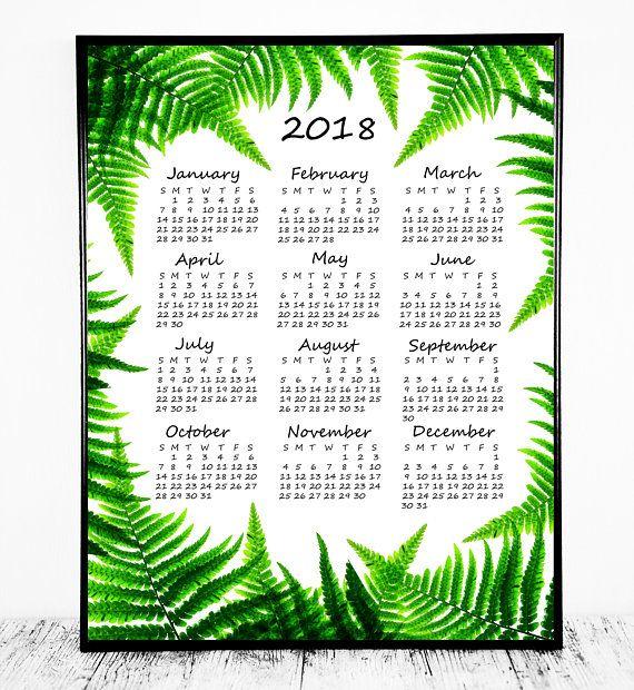 Year at a Glance Calendar 2018 Calendar Botanical Calendar