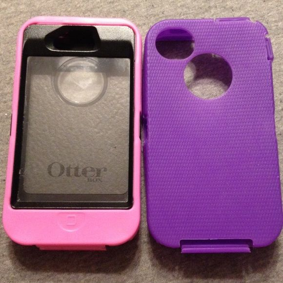 Otter box iPhone 4/4s Black otter box case with two interchangeable rubber outsides. One pink, one purple. No tears on the rubber, in great condition. The rubber pieces are not otter box but have the exact same feel, look and fit as otter box! Otter box  Accessories