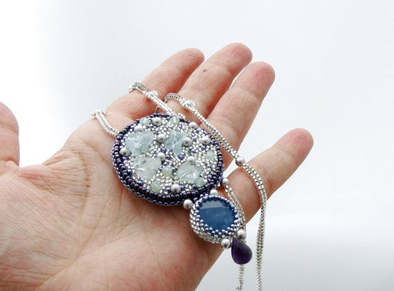 Raw Aquamarine Pendant, Bead Embroidery Pendant, Gemstone Necklace, Angelite…