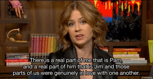 "And, apparently in an effort to make Office fans' hearts explode with joy, Jenna Fischer revealed on Watch What Happens Live that she and John Krasinski were ""genuinely in love"" with each other while filming the show. 