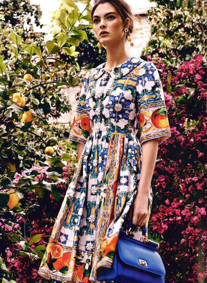Vittoria Ceretti in Dolce&Gabbana Pre Fall 2014-15 on Marie Claire Kuwait and Arabia July 2014