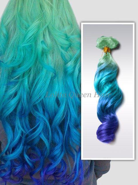 Laguna blu Ombre Clip In Hair Extensions, completo impostare le estensioni di capelli pastello, menta le radici dei capelli, tre colori Ombre Hair Extension