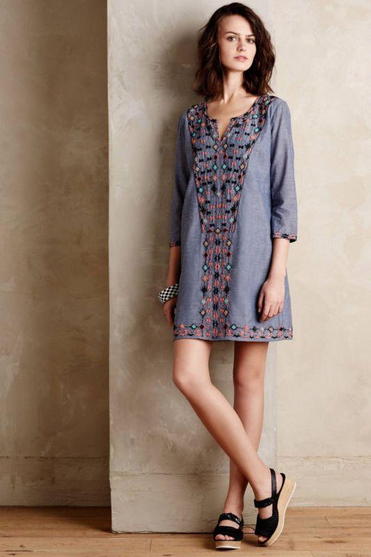 Anthropologie Sayulita Tunic Dress Sz M, Embroidered Chambray, Corey Lynn Calter