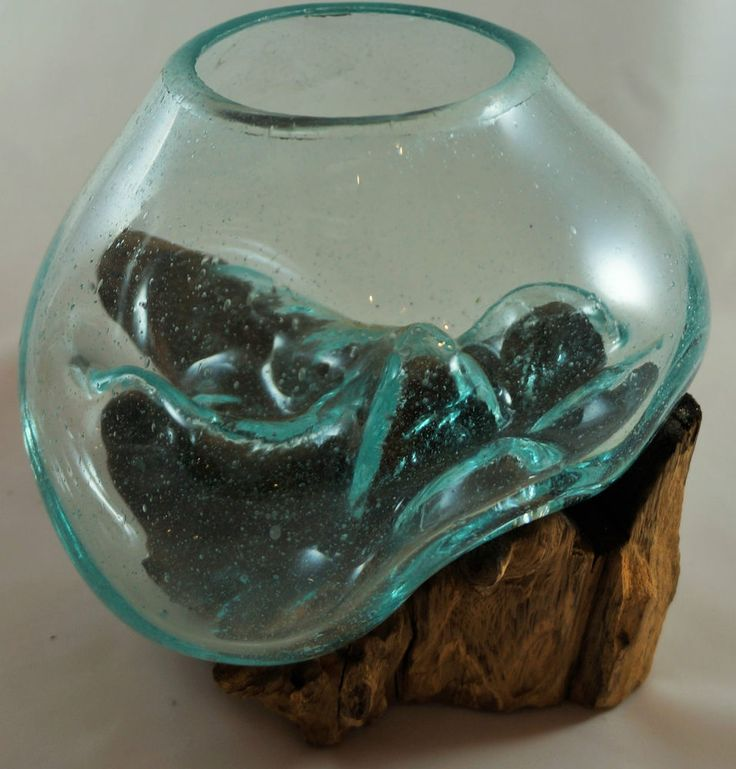 skulptur vase schale glas auf teak holz wurzel 23x20x16 cm unikat 69 wohnambiente. Black Bedroom Furniture Sets. Home Design Ideas
