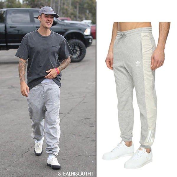 Justin Bieber in Santa Monica wearing Adidas grey sweatpants July 24 2017