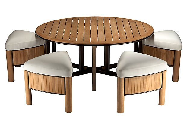 """Bronzewood Outdoor Low Table & Stools $1,999.00 $4,990.00 Retail Set of: table, four stools Made of: powder-coated aluminum frame with teak accents; seats, Sunbrella fabric Size: table, 54""""W x 42""""D x 22""""H stools, 20.5""""W x 19""""D x 18""""H Color: bronze patina aluminum/natural; upholstery, white  Selamat Designs was founded in 1988 in an effort to use wood off-cuts that remained after the production of furniture in Indonesia. Wholly committed to green, sustainable design"""
