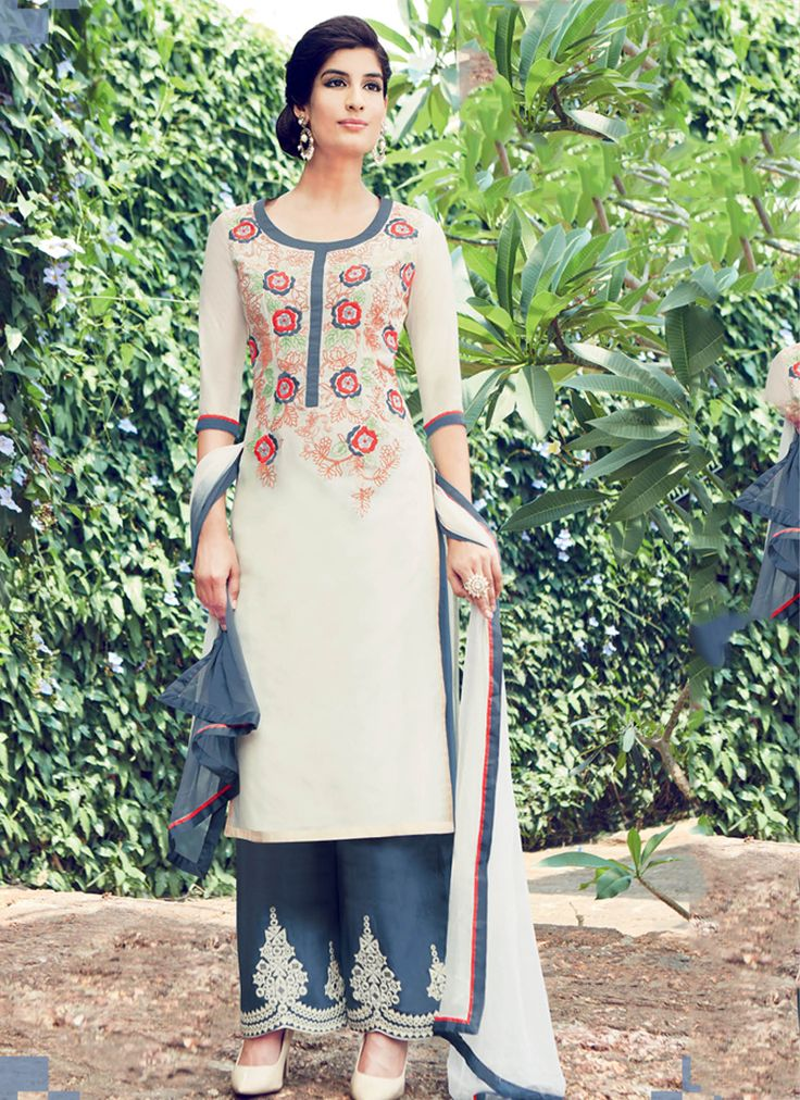 Buy Cream color cotton casual wear straight cut salwar kameez at kollybollyethnics with free worldwide shipping.