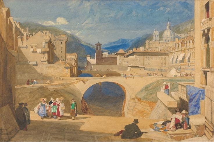 ca. 1830 Bridge in a Continental Town graphite, watercolor and gouache