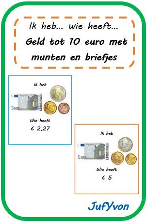 JufYvon: ik heb, wie heeft...? - geld tot 10 euro met munten en briefjes