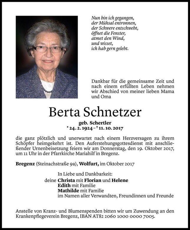 Todesanzeige Für Berta Schnetzer Vom 16.10.2017   VN Todesanzeigen
