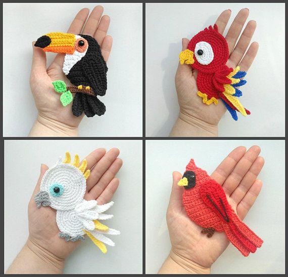 MUSTER Tropical Birds Applique Häkelmuster PDF Tukan Kakadu Papagei Red Cardinal Häkelapplikationen Paradise Birds Babydecke ENG   – häkelleien