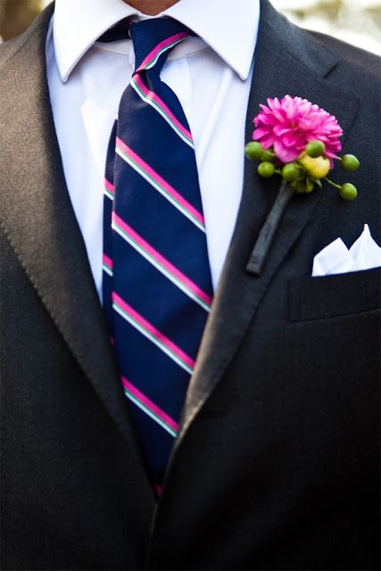 To the Bride and Groom: Navy, Fuchsia & Gold Wedding InspirationsWedding Inspiration, Gold Weddings, Pink Stripes, Grey Suits, Dahlias Boutonnier, Ties, Navy, Wedding Flower, Boutonnieres