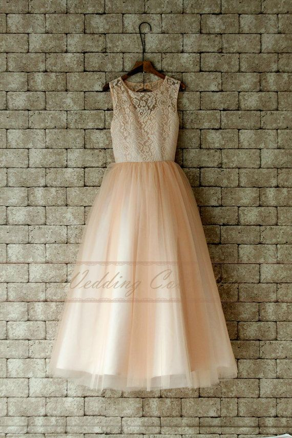 Blush Junior Bridesmaid Dress Lace Flower Girl Dress Floor Length