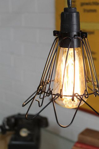 P. Trouble Light - Wire Cage Light - Industrial Pendant in black or zinc plated - Fat Shack Vintage - Fat Shack Vintage