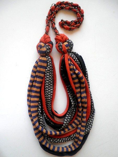 African Tribal Ethnic Bohemian - knit fabric necklace
