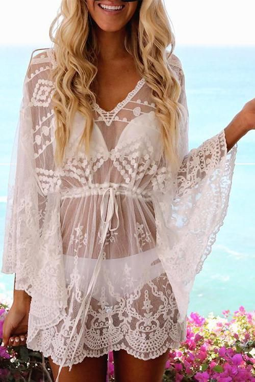 f3b25a7bcea White Beach Cover Up Dress Sheer Lace V Neck Long Sleeve Women Bathing Suit
