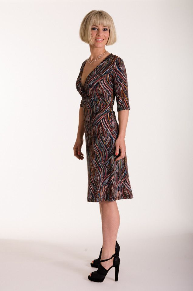 This stylish knit dress with a swirl print is a modern twist on a wrap dress | Made in New Zealand by Moa