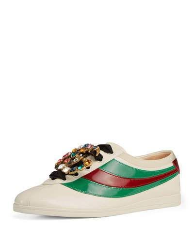 42e000247 Gucci Falacer Patent Jeweled Trainer Sneaker #Sneakers | Sneakers ...