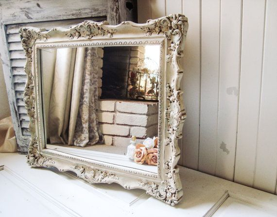 Antique Cream Patina Vintage Ornate Mirror by WillowsEndCottage
