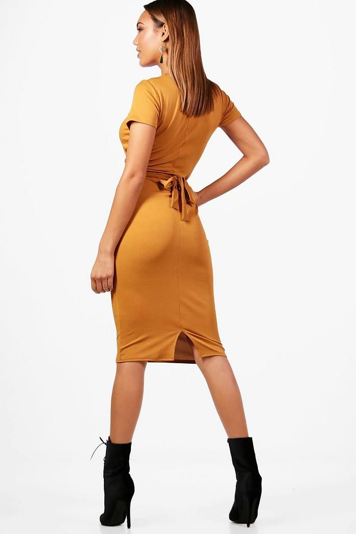 acf6a9750c6e Pleat Front Belted Tailored Midi Dress | A dress | Dresses, Belts ...