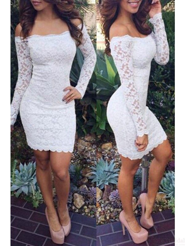 New Arrival Sexy Off Shoulder Long Sleeve Knee Length Lace Cocktail Dresses Short Prom Dresses(ED0741) #promdresses #cocktaildresses #simibridal #lace #white