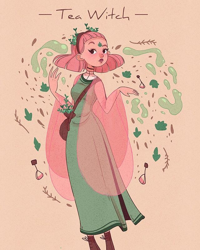 My witchsona! Amara the tea witch! She brews her own tea and then reads the future from the leftover leaves