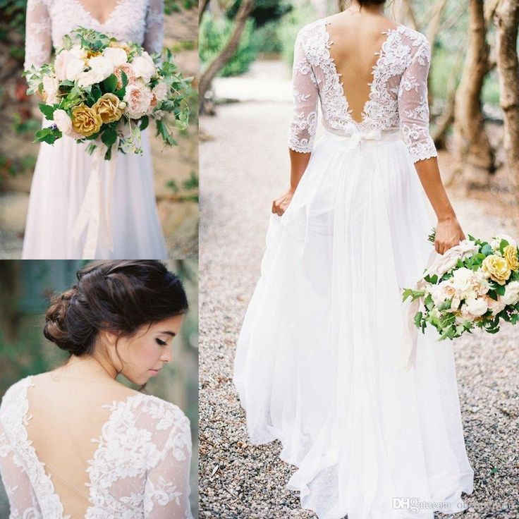 2016 Cheap Lace V Neck Wedding Dresses See Though Back 3/4 Long Sleeve Country Style Bridal Gown Plus Size Floor Length Tu Inexpensive Wedding Dresses Red Wedding Dress From Ourfreedom, $120.61| Dhgate.Com