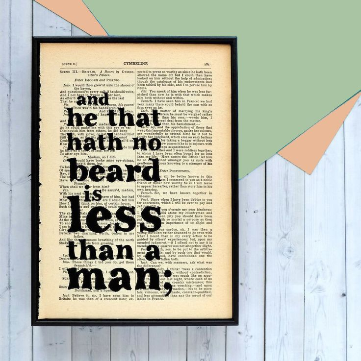 From Bookishly. 'He That Hath No Beard..' Framed Book Page Print.