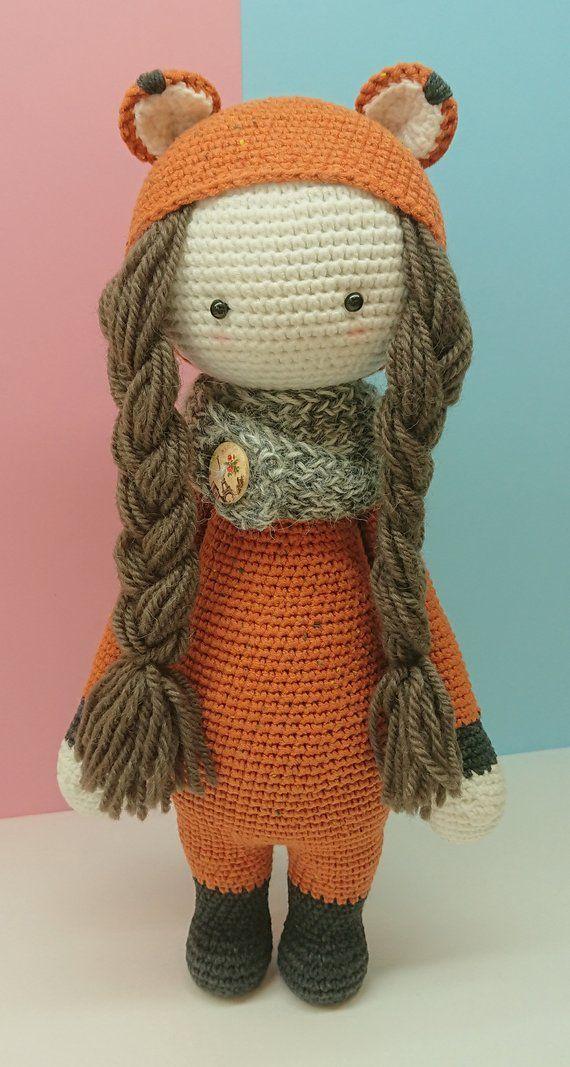 Amigurumi Fox Doll Crocheted Toy Doll Handmade Valentines Day Gift