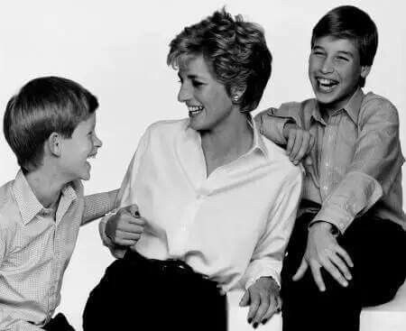 Princess Diana with Princes William & Harry