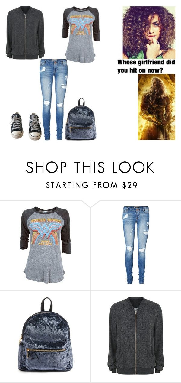 """And when there's cute things he'd say I bet he stole 'em from Drake And did I mention he wears his Mom's earrings (Aura - Daughter of Zeus)"" by ilovecats-886 ❤ liked on Polyvore featuring Junk Food Clothing, Vero Moda, BP., Wildfox and Converse"