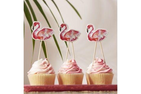 Cake topper flamant rose (par 8)