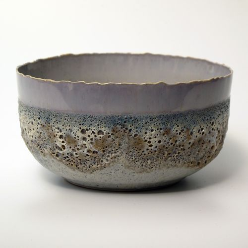 Large Tea Bowl  porcelain with crystaline/volcanic glaze  Hilary LaForce