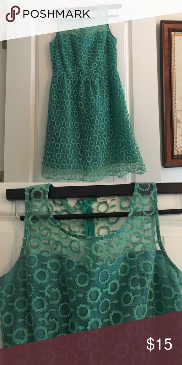 Green Patterned Dress - size M So cute on! Sheer top with a zip up back. Purchased at local boutique tea n rose Dresses Mini