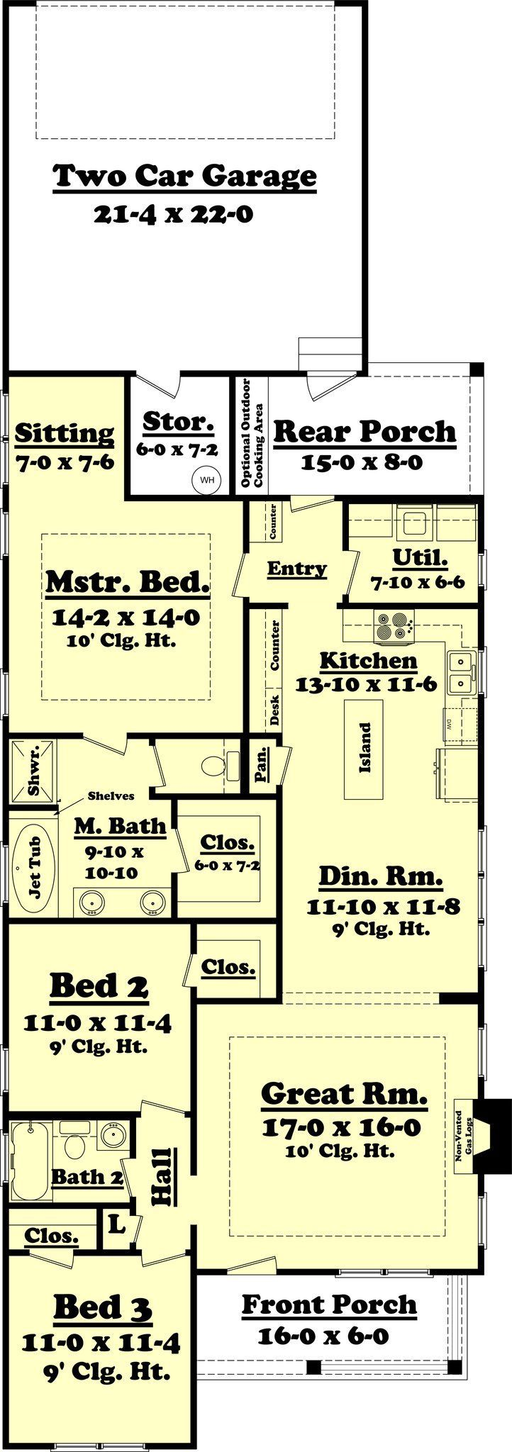 This beautiful narrow lot house plan is loaded with features. It offers 3 large bedrooms, 2 bathrooms, a large great room, and open dining/kitchen concept.