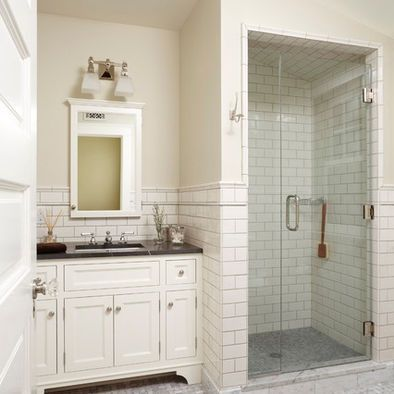 black and white traditional bathroom | Traditional Bathroom Black Granite Countertop On White ... | bathroom